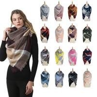 Donna Plaid Coperte Sciarpe ragazze Lattice scialle invernale Griglia avvolge Classic Piazza della nappa Controllare collo della sciarpa di modo del fazzoletto da collo TTA1704