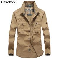 YIHUAHOO Casual Shirt Hommes Printemps Automne À Manches Longues Chemise Habillée Multi Pochettes Armée Cargo Cotton Men BBZD-1591