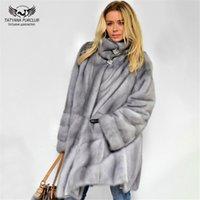 Kemer Fur ile Tatyana Furclub 2019 Yeni Moda Kış Gerçek Kürk Kadınlar Açık Gri Vizon Coat Yaka Tam Kol giysileri Standı
