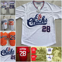 Bo Jackson # 28 Bo Jackson # 29 Memphis Chicks Movie Baseball Jersey Amerika Alle genäht White Red Orange S-3XL Hohe Qualität