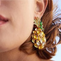 Toptan moda tasarımcısı kadın kızlar için elmas güzel renkli kristal sevimli güzel meyve ananas damızlık küpe abartılı