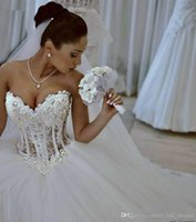 White Ball Gown Wedding Dresses Sweetheart Corset See Throug...
