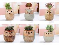 Keramik-Eulen-Pot Fließende Glasur Basis Sukkulente Topf Cactus Pot Bonsai Töpfe Perfektes Design Geschenk