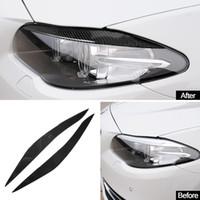 실제 탄소 섬유 헤드 라이트 눈썹 눈꺼풀 들어 BMW F10 5 시리즈 2011-17 전면 헤드 라이트 램프 눈썹 트림 커버 액세서리