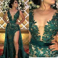 신부 드레스의 어두운 녹색 레이스 아플리케 어머니 오버 킷 사이드 스플릿 플러스 사이즈 깊은 V 목 댄스 파티 이브닝 가운 웨딩 게스트 드레스
