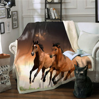 medusa 2019 horse 3d fleece blanket 2 plies warm keeping thr...