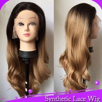 Long Body Wave-1BT27 # Ombre Schwarz Blonde Farbe synthetische Spitze-Front-Perücke hitzebeständige synthetische Schweizer Spitze Perücke Im Lager
