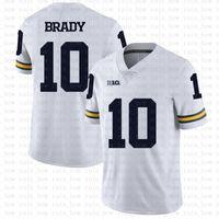Michigan Wolverines 10 Tom Brady American Football Jersey 10 Tom Brady 97 Nick Bosa 26 Saquone Barkley Jerseys Bianco CSer