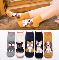 Großhandel mode neue frau nette hunde gedruckt lustige socken lässige baumwolle crew söckchen für mädchen frauen, 10 paar