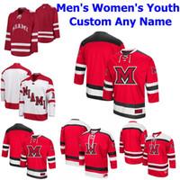 Mujer de encargo Miami RedHawks Colegio de hockey sobre hielo de los jerseys de Grant Hutton Jersey Andrew Sinard Alec Mahalak Phil Knies Gordie cosido Rojo Verde
