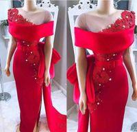 Elegante rosso dalla spalla Abiti da sera Abiti da sera Guaina Appliques Formale Party Gowns Sheer Neck Prom Dresses personalizzato Made Plus Size