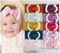 Nylon Nylon Fringe Bow Girls Sólido Pom Headwear Niños Diadema suave 33Colors para elegir