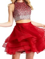 2019 2 Peças Red Jewel A-line Vestido de Cocktail Sem Mangas Curto Mini Top Totalmente Frisado Sexy Aberto de Volta Prom Party Gown