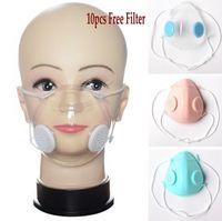 Vana PP temizle ile Şeffaf Yüz Maskesi 10pcs Filtre ile Valve Anti Toz Yıkanabilir Maskeleri Sağır Dilsiz Tasarımcı maskeler Nefes Çift Maske