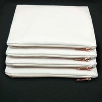 50pcs / lot 7x10in blank bianco 12oz spessa 100% poliestere sacchetto di tela con zip in metallo oro rosa per sublimazione stampa sacchetto cosmetico in bianco