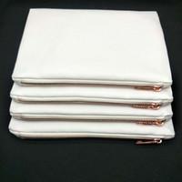 50 pz / lotto 7x10in Bag 100% Poly Blank Spessa Stampa su tela Trucco con zip con sublimazione in metallo oro 12oz per rosa bianco cosmetico louxv