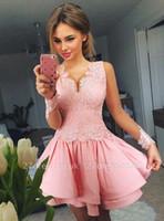 2019 Nuevo Pink V Cuello Cuello corto Cocktail Vestidos Preciosa Manga Larga Mini Vestidos de Homecoming Baratos Para Niñas Vestido de noche de fiesta de fiesta BC2043