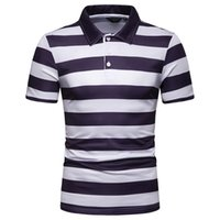 Striped Polos Shirts For Men Polyester Polo Shirt Casual Top...