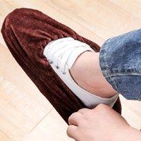 antideslizante cubierta de cocina del hogar de zapatos cubierta de la zapata niños lavable para adultos zapatos de goma elástica reutilizable portátiles a prueba de polvo de franela