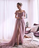 ASO EBI ARABICULL PINK Rosa Sexy Brautjungfernkleider Handgemachte Blumen Hochzeit Gäste Party Kleider High Split Formale Abend Prom Kleider