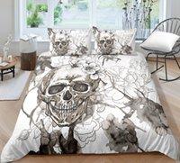 화이트 해골 침구 세트 킹 사이즈 꽃 헤드 이불 커버 퀸 홈 섬유 싱글 더블 3D 인쇄 침대 베개와 커버