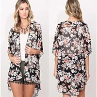 Mulheres verão encobrir biquíni top boho floral dress quimono cardigan casaco longo