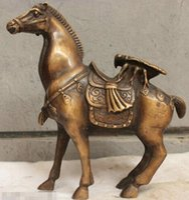Китайская Народная Культура Чистая Ручная Работа Старая Бронзовая Латунь Статуя Скульптура Лошади