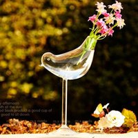 Creative tall bird vase glass vase Home Decoration hotel dec...