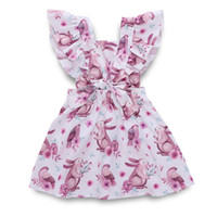 Ins Baby Girls Dress Flying Sleeves Cartoon Rabbit Print Dre...