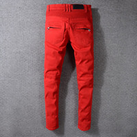 Nouveau Mode Hommes Jeans Hommes Jeans Zipper Distressed Hip Hop Ripped Jeans Denim Taille Rouge 29-42