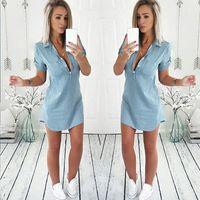 Femmes d'été en vrac Casual Denim Dress manches courtes Deep V Neck Shirt Dress 2019 Vente chaude Mode Sexy Shirt Dress