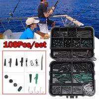 Carp Fishing Tackle Kit Box Baiting Strumenti girevoli Ganci maniche morbide Perle Tubi clip set di accessori