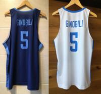 Manu Ginobili # 5 Argentina National Basket Placly Jerseys Top stampato stampa personalizzata qualsiasi nome numero 4xl 5xl 6xl jersey