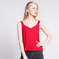 Le donne Sleeveless casuale del carro armato sexy del V Neck Vest Slim Top Solid Serbatoi colore di base Top comodo respirabile canotta