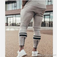 Mens Sports Desinger Pants Muscle Brother Solid Color Elastic Fitness Homme Clothing Drawstring Fashion Summer Casual Apparel