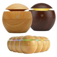 3 색 아로마 가습기 목재 그레인 에센셜 오일 디퓨저 초음파 공기 청정기 아로마 테라피 대나무 컬러 USB 가습기 130ml