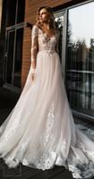 2020 blush rendas cor-de-rosa e tulle papo boho vestidos de noiva v neck mangas compridas praia Bohemian vestidos nupciais varrer trens vestidos de noiva