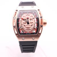 Luxus Voller Gold Fall Boyuheng Quarz 43MM Herren-Uhren-Schädel-Kopf-Uhr Transparent Dial Zwei Hände Armbanduhren Gute Uhr Geschenk für Mann