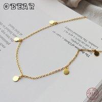 OBEAR 100% стерлингового серебра 925 пробы минималистский геометрический яркий диск колье Ожерелье для модных женщин Boho ювелирные изделия подарок
