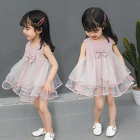 Baby Girls Dresses Summer New Cotton Net Yarn Bow Tie Vest L...