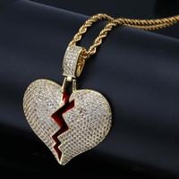 Luxus Iced Out Broken Love Heart Anhänger Halsketten Herren Bling Zirkon Liebeszauber Gold Silber Verdrehte Kette Für Frauen Hip Hop Schmuck