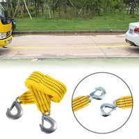 Freeshipping Orange 3 Tons 4 Meter 4M Flsorescence Universal Car Tow Cable Towing Strap Rope with Hooks