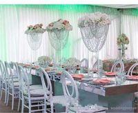 Brilhante Oval Alto Acrílico Acrílico Centro Central de Tabela de Cristal / Pilar de Suporte de Flores / Suporte de Bolo para Casamento / Casamento Decoração
