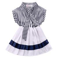 Дети Младенец ребёнки Navy полосатой Woven принцесса платье партия платье Sz 2-7Y