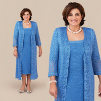 Blue Lace Plus Size Mother of the Bride Dress with Coat Jack...