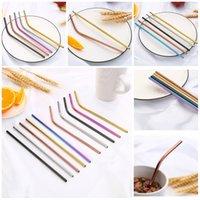 Hot 20 estilos acero inoxidable 304 pajitas de bebidas reutilizables pajas leche té café curvas de color arco iris de metal pajas T3I5691