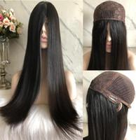 Kosher pelucas 12A Color Negro # 1b sedoso pelo más fino chino humano de la Virgen recta 4x4 superior de seda Base judía peluca libre rápido que envía la