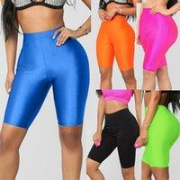 Parlak Floresan Biker Şort kadınlar Yaz Eşofman Yüksek Bel İnce elastik Streetwear moda Saten Neon BODYCON Kısa Pantolon tozluk