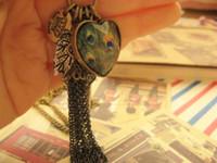 mode vintage weibliche lange design pfauenfeder quaste halskette liebe schlüssel großhandel anhänger halsketten frauen schmuck