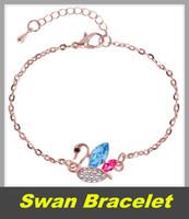 Cisne moda pulseira nova rose ornamentos de ouro cisne mulheres simples desgaste pulseiras Europa e América pulseira de cristal presentes por atacado